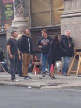 Stephen Amell on the set of TNMT