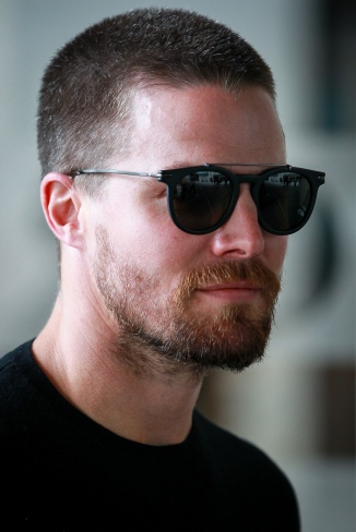 Actor Stephen Amell promoting his new film 'Teenage Mutant Ninja Turtles' at BBC Radio One studios - London